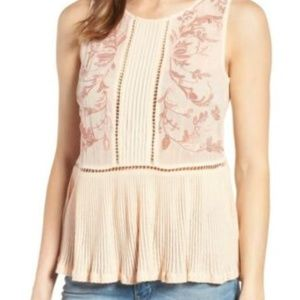 LUCKY BRAND Embroidered Ladder-Trim Top Pale Peach